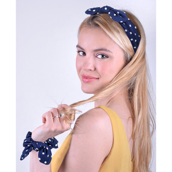 6pc Polka Dot Elastic Head Band with Matching Scrunchy Bow Set