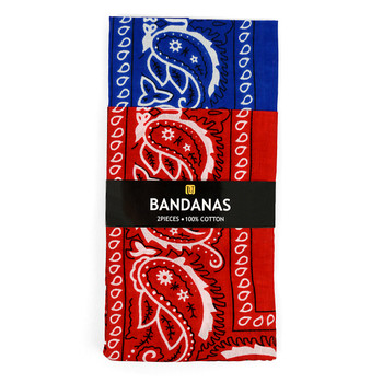 6pcs Bandannas Navy & Red Duo Pack 2BNA-1NV/1RD