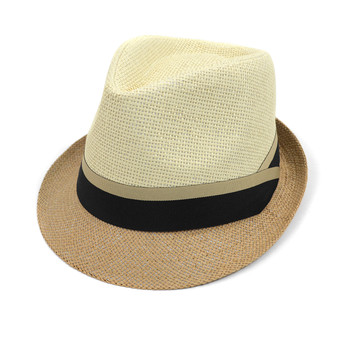 Spring/Summer Woven 2-Tone Fashion Fedora with Taupe & Black Band FSS17122