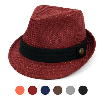 Spring/Summer Textured Pattern Fashion Fedora with Black Band & Button FSS1701