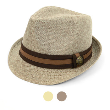 Spring/Summer Linen Weave Fashion Fedora with Two-Tone Band & Button FSS17107