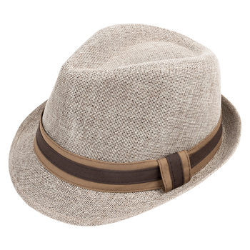 Spring/Summer Linen Weave Fashion Trilby Fedora with Two-Tone Band & Button- FSS17107