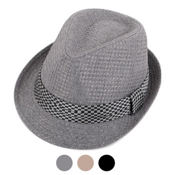 Spring/Summer Textured Pattern Fashion Trilby Fedora with Black Diamond Band -FSS17113