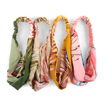 12pc Assorted Ladies Criss Cross Tropical Flower Print Summer Headbands - 12EHB1019