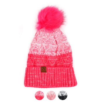 Women's Split-Toned Pom Pom Knit Winter Hat - LKH5033