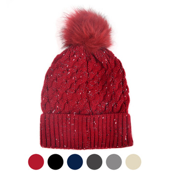 Women's Speckled Pom Pom Knit Winter Hat - LKH5031