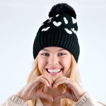 Women's Hearts and Pom Pom Knit Winter Hat - LKH5032