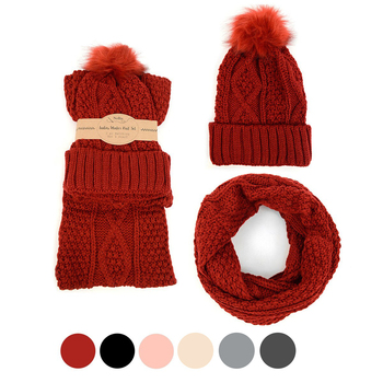 Ladies Knit Hat & Infinity Scarf Winter Set - LKS5028
