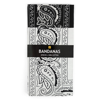 6pcs Bandannas Black & White Duo Pack 2BNA-1BLK/1WHT