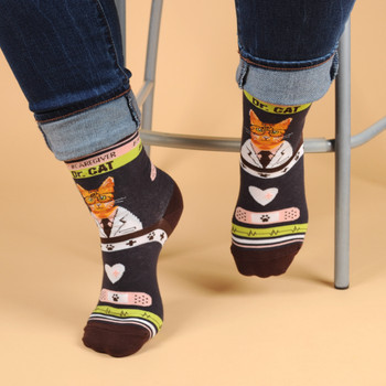 Health Care Heroes -Dr. Cat- Ultra Premium Novelty Socks - NVSX2000-CHAR