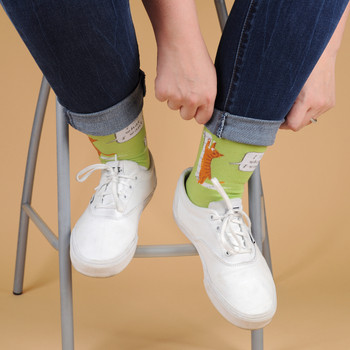 Covid-19 -Toilet Paper- Premium Novelty Socks - NVSX2003-GRN