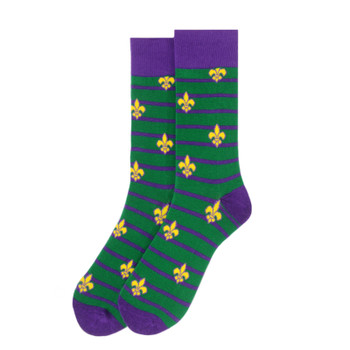 Men's Mardi Gras Novelty Socks - NVS19592-GRN
