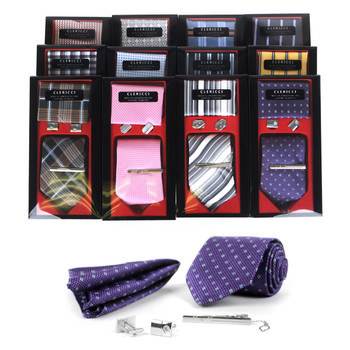 12pc Spring Assorted Pack Tie, Hanky, Cufflink & Tie Bar Set - TCB4000-BX
