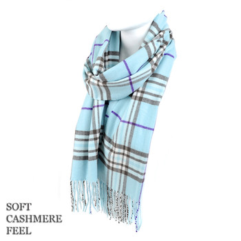 Unisex Acrylic Plaid Cashmere Feel Winter Scarves - AS2617