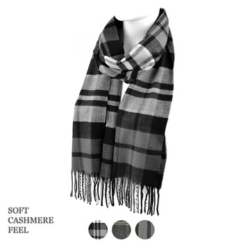 Unisex Plaid Cashmere Feels Acrylic Scarves AS2400-4