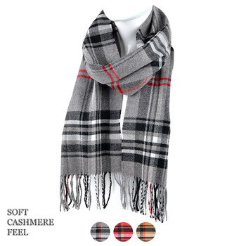 Unisex Plaid Cashmere Feels Acrylic Scarves AS2400-5