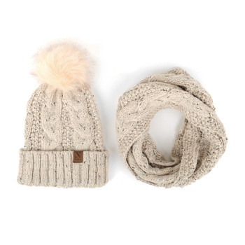 Women's 2pc Speckled Knit Hat & Infinity Scarf Set - LKS5029
