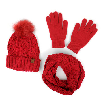 Women's 3pc Knit Hat, Gloves & Infinity Scarf Set - LKS5030