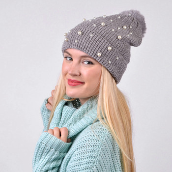 Women's  Pom Pom & Pearls Knit Winter Hat  - LKH5034