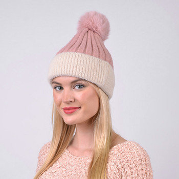 Women's  Pom Pom Two-Tone Knit Winter Hat  - LKH5035