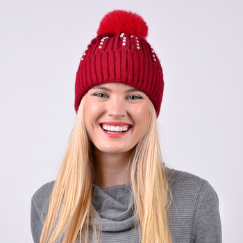 Women's  Pom Pom & Pearls Knit Winter Hat  - LKH5036
