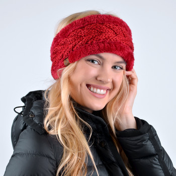 Women's Thick Fleece Lined Knit Winter Head Band - WHB5007