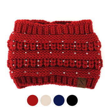 Women's Knit Rhinestone Winter Headband Ear Warmer - WHB5008
