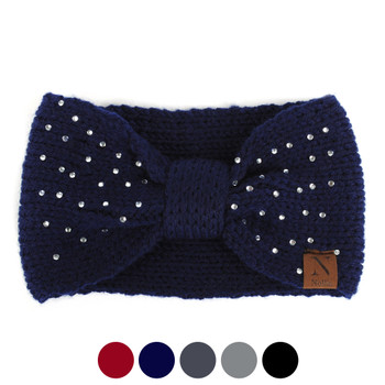 Women's Rhinestone Knotted Knit Winter Headband Ear Warmer - WHB5009