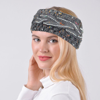 Women's Rhinestone Knit Winter Headband Ear Warmer - WHB5011