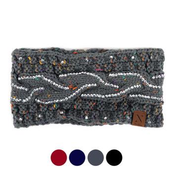 Women's Rhinestone Knit Winter Headband Ear Warmer - WHB5011