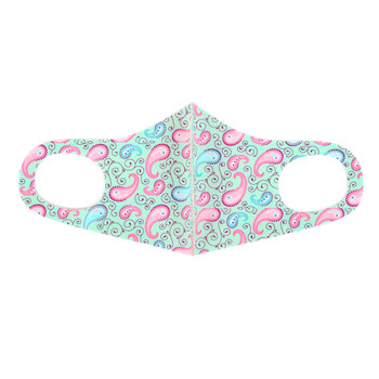 Mint & Pink Paisley Print Fashion Mask - PPE05