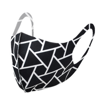 Black Geometric Triangle Print Face Mask - PPE07