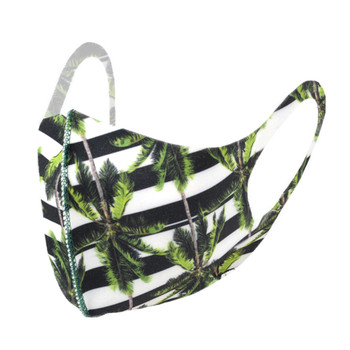 Stripes with Palm Trees Pint Fashion Face Mask - PPE12