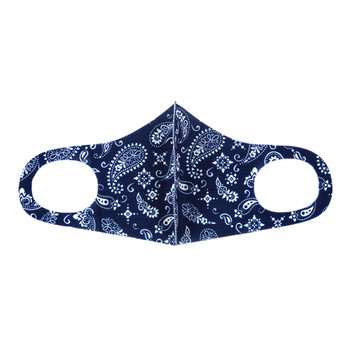 Navy & White Paisley Print Fashion Face Mask - PPE17