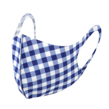 Blue Gingham Plaid Fashion Face Mask - PPE25