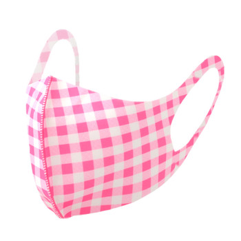 Pink Gingham Plaid Print Fashion Face Mask - PPE26