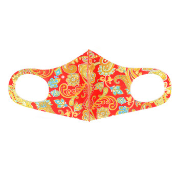 Red Paisley Print Fashion Face Mask - PPE38