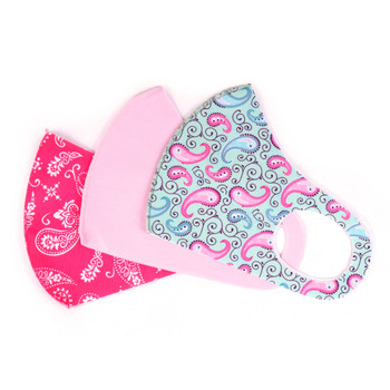 3pcs Pink Novelty & Solid Face Masks - 3PPE-NV2