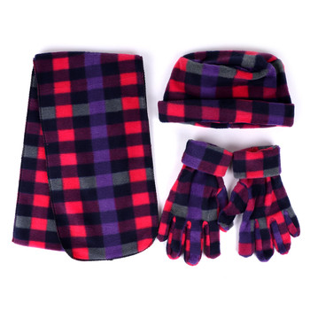 Women's Fleece Pink Plaid Winter Set - WNTSET9020