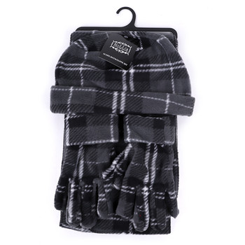 Women's Fleece Charcoal Plaid Winter Set - WNTSET9024