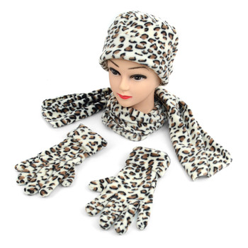 6pc Pack Women's Leopard Print Fleece Winter Set WNSET9014