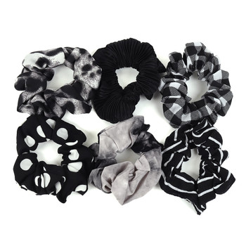 12pc Random Assorted Black and White Hair Scrunchy - 12SHS-BLK-1