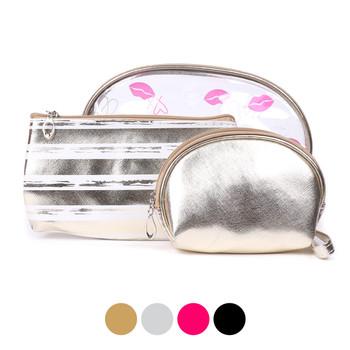 Ladies Makeup Bag 3pc Set Cosmetic & Toiletry Bags - LNCTB1719