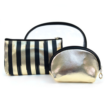 Ladies Clear & Striped Makeup Bag 3pc Set Cosmetic & Toiletry Bags LNCTB1706-ST
