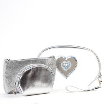 Ladies  Heart Makeup Bag 3pc Set Cosmetic & Toiletry Bags - LNCTB1725