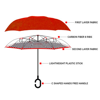 Double Layer Houndstooth Inverted Umbrella - UM18081
