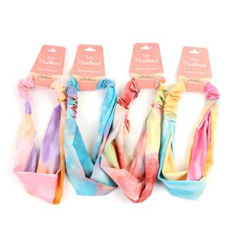 12pc Assorted Criss Cross Colorful Tye Die Headbands - 12EHB1026