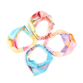 12pc Assorted Criss Cross Colorful Tie Dye Headbands - 12EHB1026