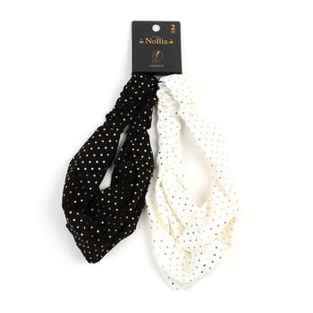 2pc Polka Dot Black and White Headbands - 2EHB2004-BK/WHT