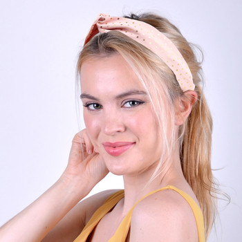 2pc Pink and White Polka Dot Headbands